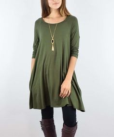 Love this Olive Three-Quarter Sleeve Pocket Tunic by eloges on #zulily! #zulilyfinds