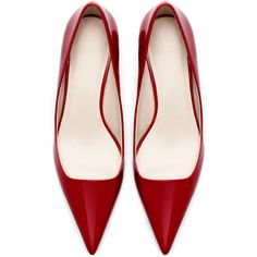 Zara Pointed Mid Heel Court Shoe (56 BAM) ❤ liked on Polyvore featuring shoes, pumps, heels, red, zara, red pointed-toe pumps, heel pump, zara footwear, zara shoes and pointed heel pumps