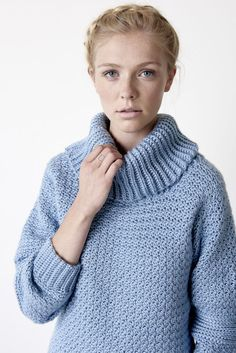 Over Easy Cowl Neck - Patterns | Yarnspirations | You can't judge a book by it's cover, but you can judge a pattern by it's name! This pullover sweater is an easy to work up, and an easy way to add some warmth and style to any outfit! Crocheted in Caron Simply Soft.