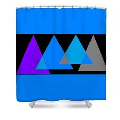 Shower Curtain of 'Pyramids In Turquoise 2' by Sumi e Master Linda Velasquez.