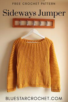 Crochet Jumper Free Pattern, Crochet Sweater Design, Jumper Patterns, Crochet Patterns, Modern Crochet, Easy Crochet, Free Crochet, Knit Crochet, Crochet Stitch