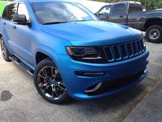 Matte Blue Metallic 3M Wrap on SRT Jeep Grand Cherokee Trailhawk, 2017 Jeep Grand Cherokee, Cool Jeeps, Cool Trucks, Srt8 Jeep, Mopar, Vinyl Wrap Car, Slammed Cars, Blue Jeep