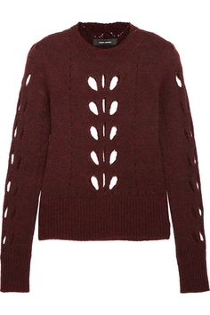 Isabel Marant's pointelle-knit sweater is spun with large leaf-shaped cutouts that are carefully placed for coverage. This rich burgundy piece is knitted with touches of alpaca and mohair for softness and finished with defining ribbed trims. We like it tucked into tactile skirts at the office or teamed with denim after hours.