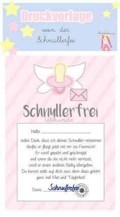 Schnullerfee Brief Vorlage zum Ausdrucken, Free, Druckvorlage Schnuller Urkunde für Kleinkinder