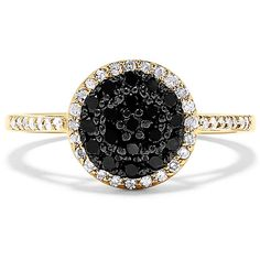 Effy Jewelry Effy 14K Yellow Gold Black and White Diamond Ring, 0.51... ($998) ❤ liked on Polyvore featuring jewelry, rings, gold rings, 14k ring, diamond jewellery, gold diamond rings and gold jewellery
