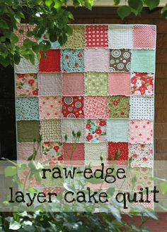 """Raw-edge layer cake quilt tutorial - ANYONE could make this quilt!  This is quite possibly the quickest quilt you will ever make! Mini 10"""" quilt 'sandwiches' are sewn together with a 1/2"""" seam. The seams are clipped to give some great 'cuddle-up' texture."""