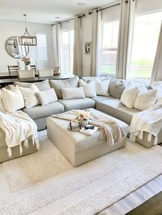 Living room ideas to create your dream space. Sofas, sectionals, chairs, accent tables and more to help make home your haven. Living Room Decor Cozy, New Living Room, Home And Living, Living Spaces, Bedroom Decor, Living Room Sectional, Large Sectional Sofa, Living Room Ideas House, Living Room With Beige Couch