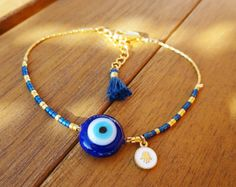 Evil Eye Beaded Hamsa Bracelet Lapis Lazuli by cocolocca on Etsy