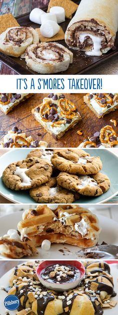 Who loves a s'more-gasboard? We sure do! Tons of recipes that take everyone's favorite trio (graham + 'mallow + chocolate) and turn it into a melty, quick-to-disappear dessert. Find Marshmallow Stuffed Cookies, Peanut Butter S'mores Cookie Dip, Easiest-ever S'mores Pudding, S'mores Cookie Sandwich and Deep Dish S'mores Skillet Cookie.