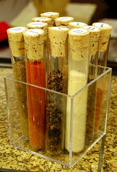 Simple DIY Project: Test Tube spices.  You can buy test tubes from a local pharmacy.