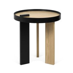 Tokyo End table - / Wood & Metal - Ø 50 x H 50 cm Oak & Black by POP UP HOME - Design furniture and decoration with Made in Design Small Tables, End Tables, Table Furniture, Furniture Design, Side Coffee Table, Table Sizes, Japanese Furniture, Center Table, Wood And Metal