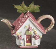 Mini Tea Pot & Lid Figurine in the Old Country Roses pattern by Royal Albert China