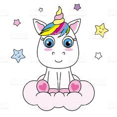 Unicornio de dibujos animados lindo sentado en una nube ilustración de  unicornio de dibujos animados lindo d0f0ba6ca2132