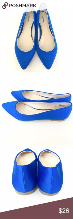 Express Satin Flats Bright blue Express satin pointed toe flats. Size 8, brand new, never worn condition! Only tried on a few times. Zero signs of wear. A couple of adhesive marks on the inside liner, either purchased this way or have discolored over the time spent in the closet. Doesn't affect wear/can't be seen while worn. Express Shoes Flats & Loafers
