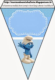 Smurfs: Invitations and Party Free Printables, for Boys Party.