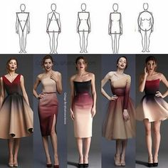 different dress types for body shapes Teen Fashion Outfits, Mode Outfits, Look Fashion, Pear Shape Fashion, Diy Fashion, Dress For Body Shape, Dress Body Type, Fashion Drawing Dresses, Fashion Dresses