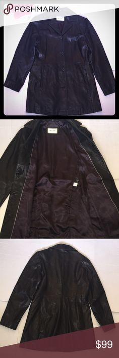 "Reilly Olmes Black Leather Jacket Size Small Reilly Olmes Collection  100% Leather Jacket  Super soft leather  Size - Small Black Purple lining  Pre-owned Gently used (Shows very little sign of use? May have been a couple of times) EUC Sold as-is  Approximate Flat Lay Measurements: Bust - 18.5"" Length - 29.5"" Sleeves - 23.5"" Shoulder - 16""  Condition: Very good to excellent used Tiny snug and 2 spots on Purple liner (picture 8)  Bundles and reasonable offers accepted. No trades  Thank you…"