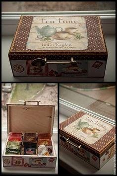 """Короб для чайных пакетов """"Время чая"""" - коричневый,шкатулка для чая,короб для чая"""