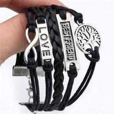 Jovivi Multilayer Charm Infinity Love Best Friend Wish Wrap Cuff Best Friend Bracelets, Best Friend Jewelry, Love Bracelets, Friendship Bracelets, Leather Bracelets, Infinity Charm, Infinity Love, Best Friend Love, Best Friends