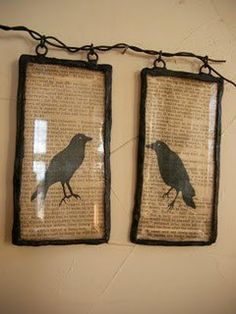 Crows!  Good idea for those glass pieces w/red ribbon.