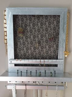 Silver with Black Lace Hanging Jewelry Box Pinterest Hanging