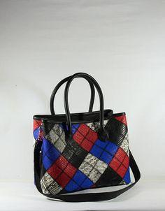 Python Leather Patchwork Satchel Bag