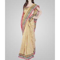 Multicolored printed silk saree