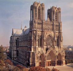 """""""Reims Cathedral in France is traditionally where the kings of France were coronated. Architecture Cool, Cathedral Architecture, Sacred Architecture, Cultural Architecture, Architecture Graphics, Historical Architecture, Reims Cathedral, Milan Cathedral, St Basils Cathedral"""