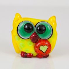Yellow Green Owl Lampwork Glass Bead by maybeads on Etsy, $16.00