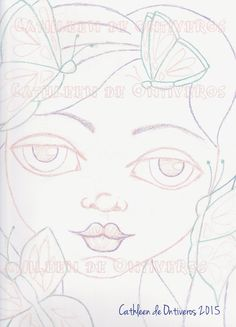 Butterfly Girl Digital Stamp Face Template by Cathleendeontiveros
