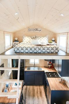 Mansion by Uncharted Tiny Homes The kitchen features a four burner stove, a large sink, and an apartment size refrigerator. Related posts: Desks that Convert to Table for our Tiny House on Wheels (Ana White) Breathtaking Tiny Attic Storage Ideas Best Tiny House, Modern Tiny House, Tiny House Living, Tiny House Plans, Tiny House Kitchens, Mansion Kitchen, Small Room Design, Tiny House Design, Loft Design