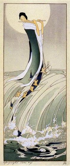 (usa) Song of the brook, 1916 by Bertha Lum woodblock print. Art And Illustration, Illustrations, Art Asiatique, Art Japonais, Japanese Painting, Japanese Prints, Japan Art, Woodblock Print, Chinese Art