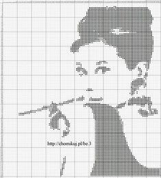 Audrey Hepburn x-stitch Cross Stitching, Cross Stitch Embroidery, Embroidery Patterns, Crochet Patterns, Cross Stitch Charts, Cross Stitch Designs, Cross Stitch Patterns, Crochet Chart, Filet Crochet