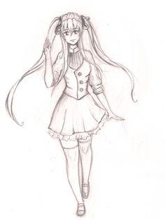 sketch manga girl