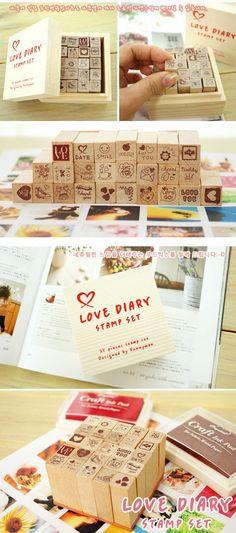 Aime Diary timbre boîte tampon en bois ensemble par StickersKingdom