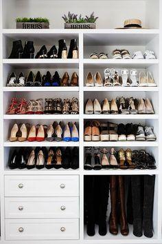 Stunning closets 40 shoe organizing tips and tricks closet organizing professional organizer www Walk In Robe, Walk In Wardrobe, Walk In Closet, Closet Wall, Closet Space, Closet Shoe Storage, Shoe Closet Organization, Boot Storage, Shoe Racks