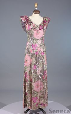 1970s Maggie Reeves beaded gown