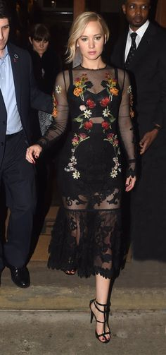 Jennifer Lawrence Wears Sheer Dress With Lace While Out In London