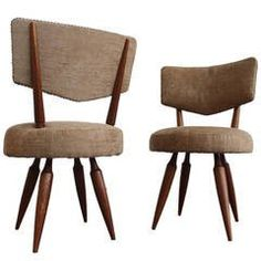 Pair of Italian Side Chairs in the Style of Osvaldo Borsani, circa 1950