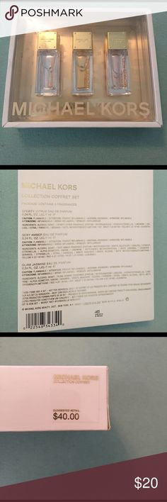 Michael Kors 3 pack of Perfume This set of Michael Kors perfume is unopened and never been used! Scents include: Sporty Citrus, Sexy Amber, and Glam Jasmine. Each bottle is 0.24 FL. OZ. Michael Kors Other