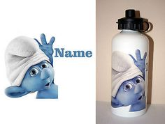 1 x AW2U BRAND NEW Personalised White Drink Bottle - SMURF with Name