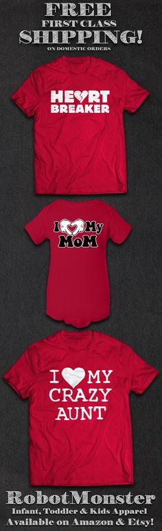 Valentines Day is almost here!  Get the latest in fun clothing designs for the babies, toddlers and kids in your life at the RobotMonster Etsy & Amazon shops! We have a wide selection of onesies/infant bodysuits, toddler t-shirts and youth t-shirts.  Don't forget: We ship ALL domestic orders FREE with USPS First Class mail!