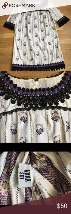 """Anna Sui dress Beautiful and rare Anna Sui shift dress. Measurements are as follows.   Bust: 36""""  Waist: 40""""  Hip: 42""""  Length: 34""""   Sleeve is 3/4 length. Dress is unlined. Embroidered trim around collar, sleeves and hem. Anna Sui Dresses Mini"""