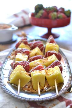Strawberry Colada Kabobs - such a simple and delicious summer dessert!