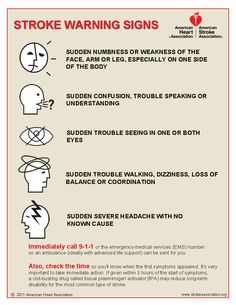 Stroke Warning Signs - Time lost is brain lost. <<< I experienced ALL 5 of these symptoms when I had my stroke. Two of the symptoms occurred 3 days before the stroke.