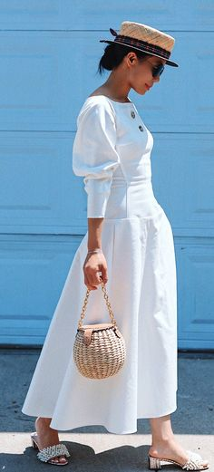 #summer #outfits Lady Like. Have A Lovely Night/day, Darlings. // White Maxi Dress + Flat Round Hat // Shop This Outfit In The Link