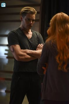 """ABC Family/Freeform has released a slew of promotional photos for the fourth episode of Shadowhunters titled """"Raising Hell,"""" which airs Feb. In """"Raising Hell,"""" the Shadow… Clary Fray, Shadowhunters Clary And Jace, Clary Und Jace, Shadowhunters Tv Series, Shadowhunters The Mortal Instruments, Jace Wayland, Cassandra Clare, Dominic Sherwood, Matthew Daddario"""