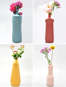 Upcycle old plastic bottles into colorful flower vases with a bit of matte spray paint. Not huge on the colors, but maybe something for an outdoor Easter. Via Kate Crombie onto I want to make stuff.