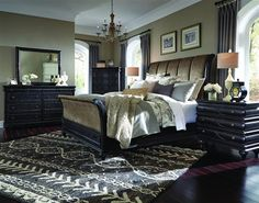 Hyland Park Vintage Black Gold Wood Fabric PU Master Bedroom Set