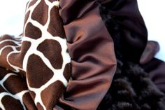Minky Giraffe Baby Blanket with Satin Ruffled Trim Stroller Size on Etsy, $40.00